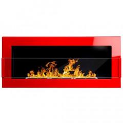 Біокамін Globmetal 900x400 Червоний глянц зі склом фото