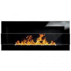 Біокамін Globmetal 900x400 чорний глянц зі склом фото