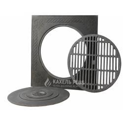 Плита чавунна 550х550 мм з візерунком та решіткою для барбекю фото
