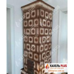Изразцовая печь Izabella коричнево-белая фото