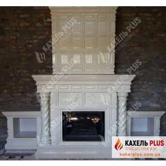 """Изразцовый камин """"Chicago"""" с колоннами и левами белый фото"""